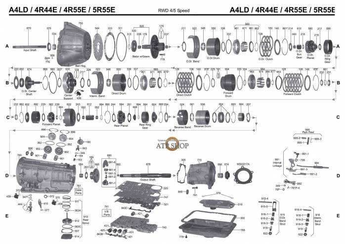 акпп A4LD, 4R44E \55E, 5R55E \44E AEROSTAR MUSTANG TRANSIT NAVAJO PICKUP METROCA...