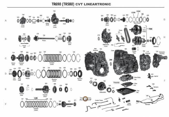 акпп TR580 / TR690 (CVT) EXIGA OUTBACK IMPREZA FORESTER LEGACY XV ASCENT LEVORG