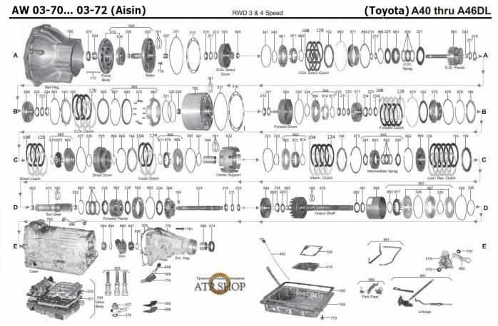 акпп A43D(03-71)/DE/DL/ AW372/ KM148 1T PORTER GALLOPER GRACE H1 STAREX REFINE G...