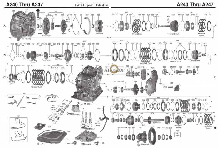 акпп A240E/L/ 241E/H/ 243L/ 244/ MS7 CELICA GT