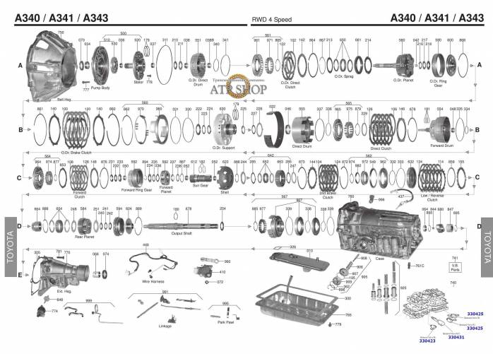 акпп A340E/F/H, 341,343 4 RUNNER CRESSIDA SUPRA TACOMA 2WD RODEO SC300 GRAND VIT...