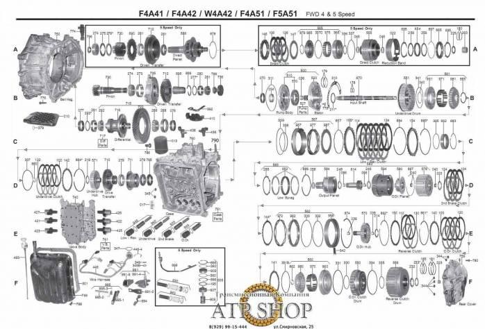 акпп F4A41, F4A42, F4A51, W4A42 SEBRING F3/F3R F6 G6 M6 S6 T9 SPLENDOR STRATUS A...