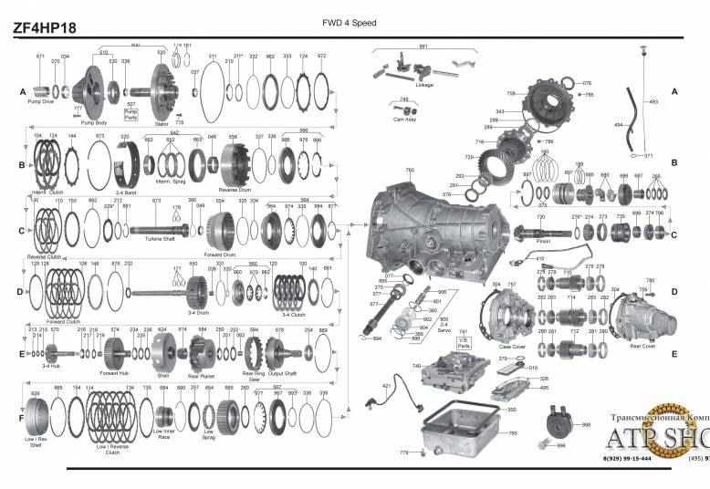акпп 4HP18 100 A6 MONACO 605 9000/S