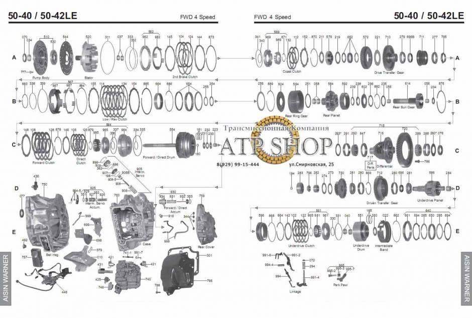 акпп AW50-40LE/ 42LE (AF14/ AF20/ AF22) ASTRA EPICA EVANDA VECTRA/VECTRA GT VIVA...