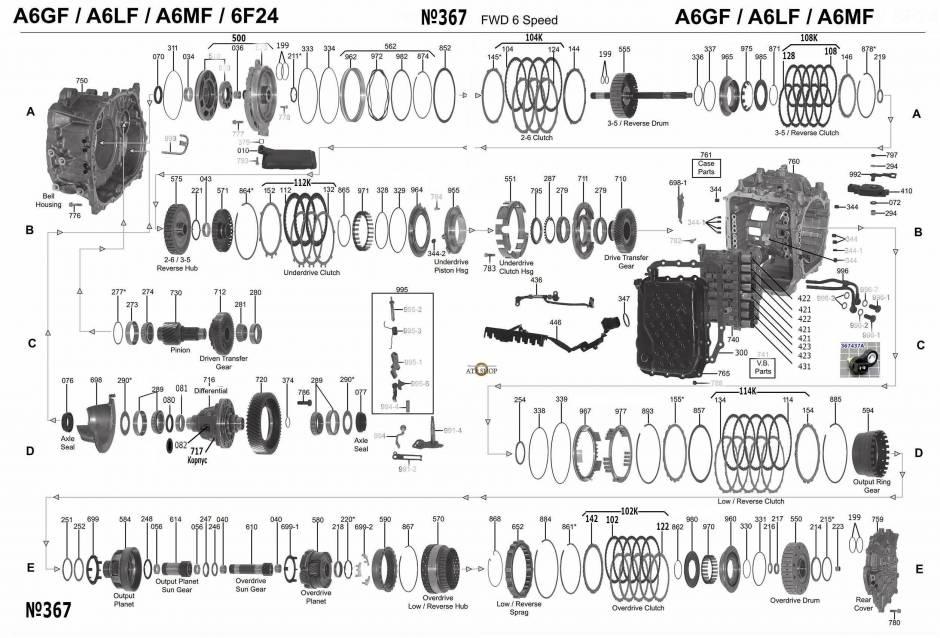 акпп A6LF1-3, A6GF1, A6MF1-3 AZERA GRANDEUR SONATA TUCSON /TUCSON ix GRAND CARNI...